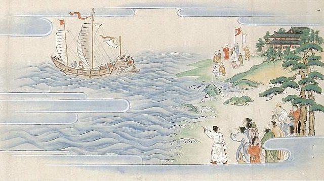 袋中上人を見送る琉球国の人々