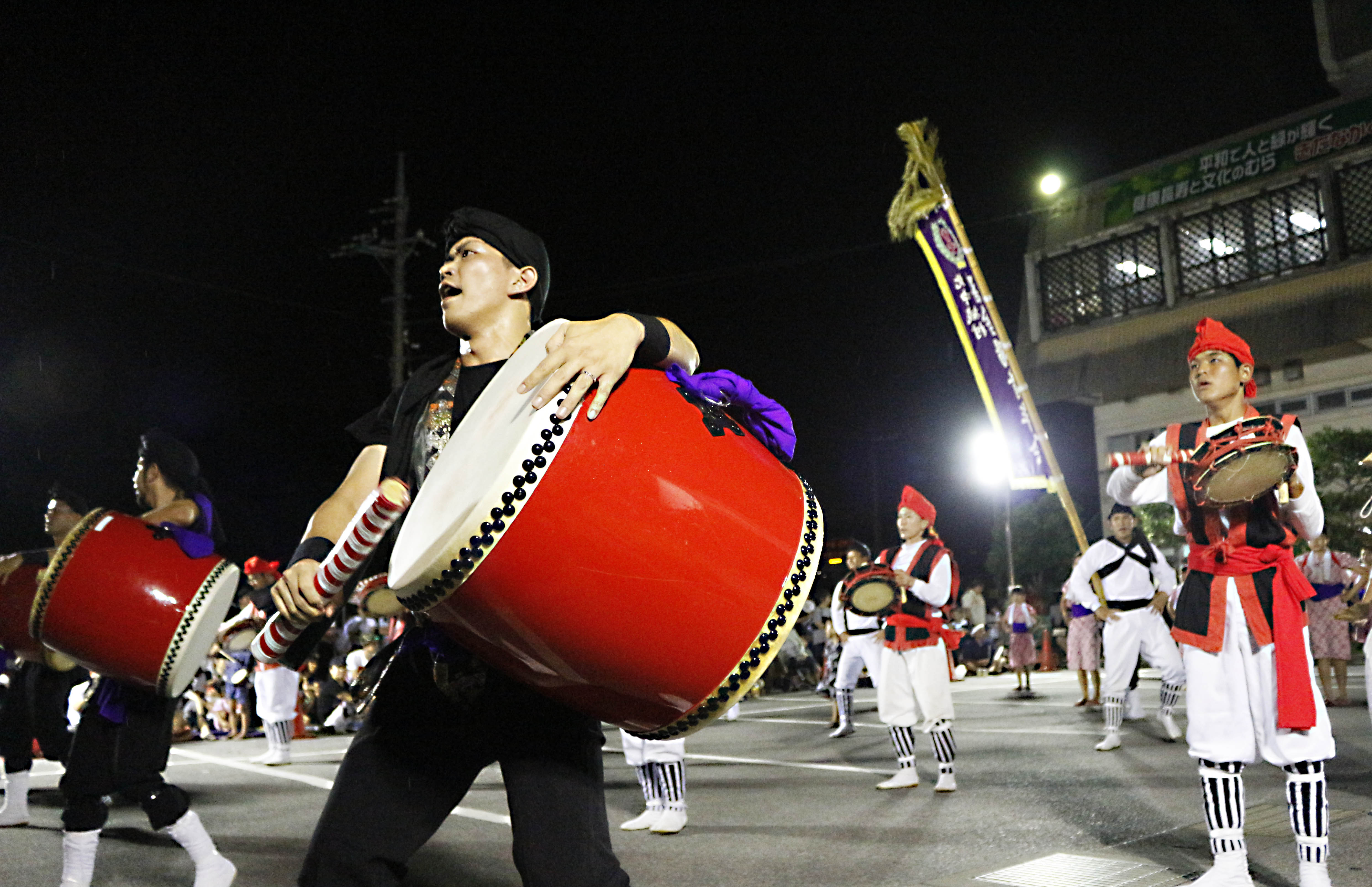 北中城村青年エイサーまつり昨年度前夜祭の様子様子