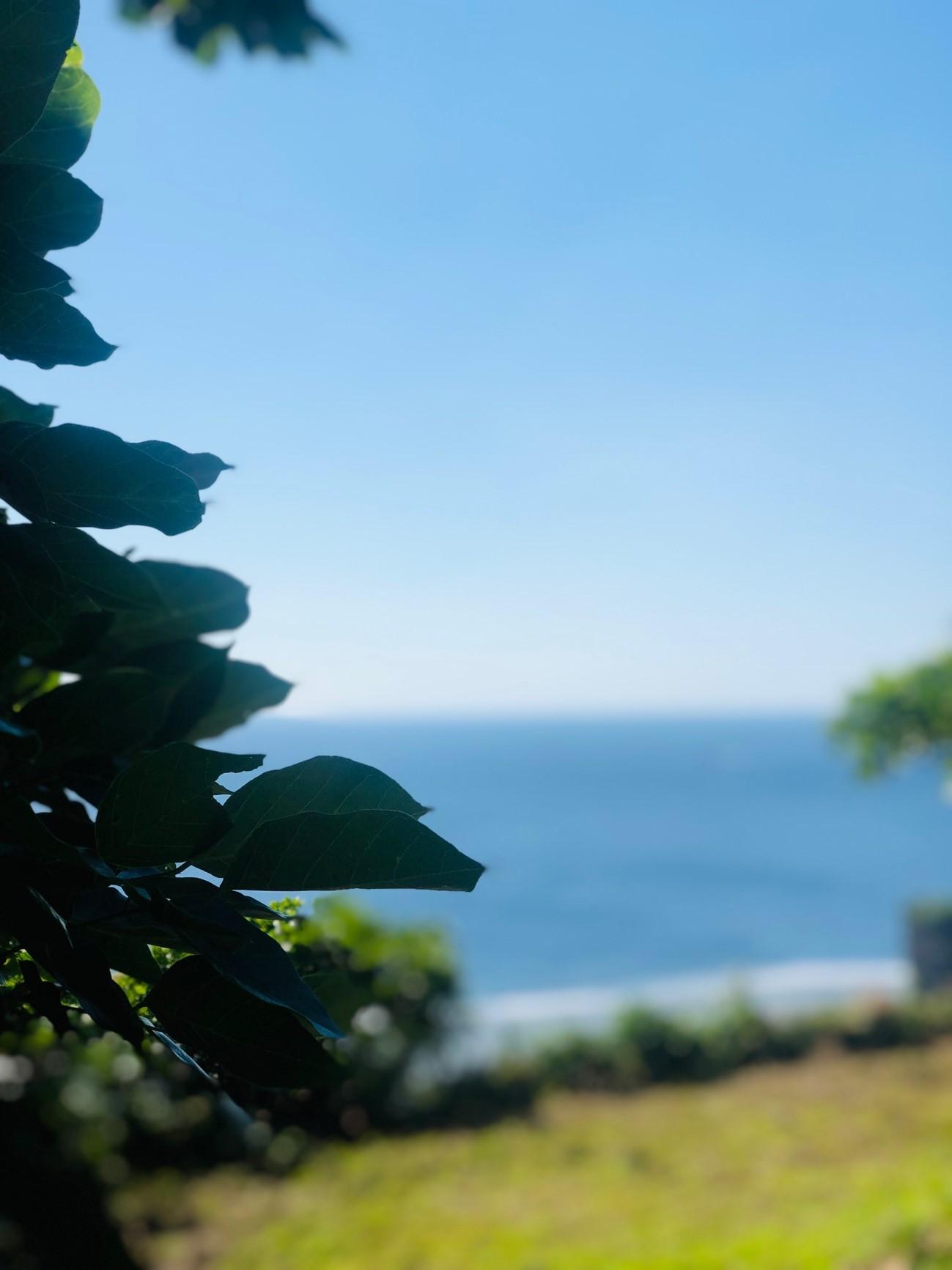 沖縄県糸満市「平和祈念公園」の「摩文仁の丘」の頂上から下り道 海をバックにポートレート撮影