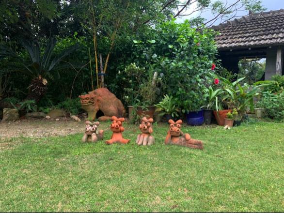 沖縄県名護市屋我地島にある人気カフェ「古民家カフェ喜色-Kiiro-」の庭
