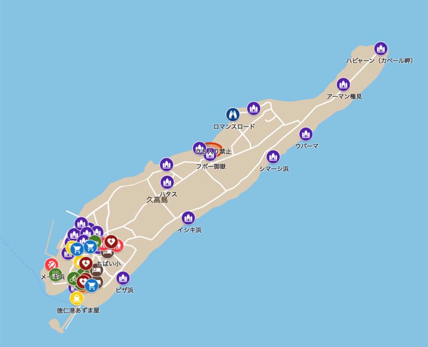 久高島ガイドツアー 観光スポットの地図